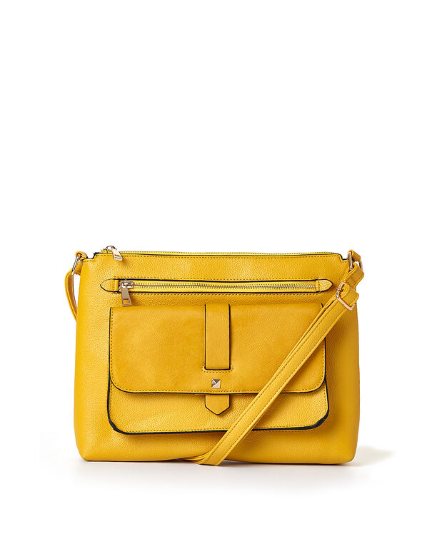 Saffron Flap Cross Body Bag, Yellow/Saffron, hi-res