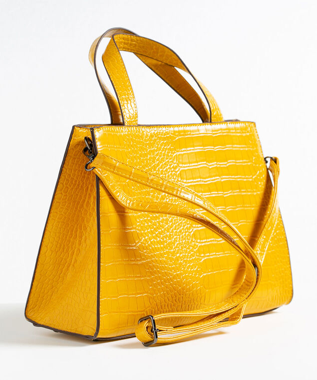 Gold Structured Croco Handbag, Gold, hi-res