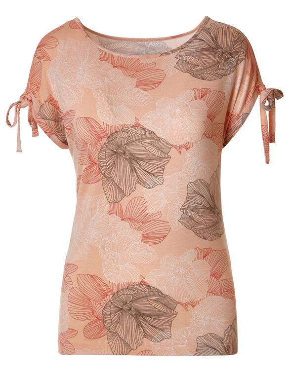 Floral Print Tie Sleeve Tee, Floral Print, hi-res