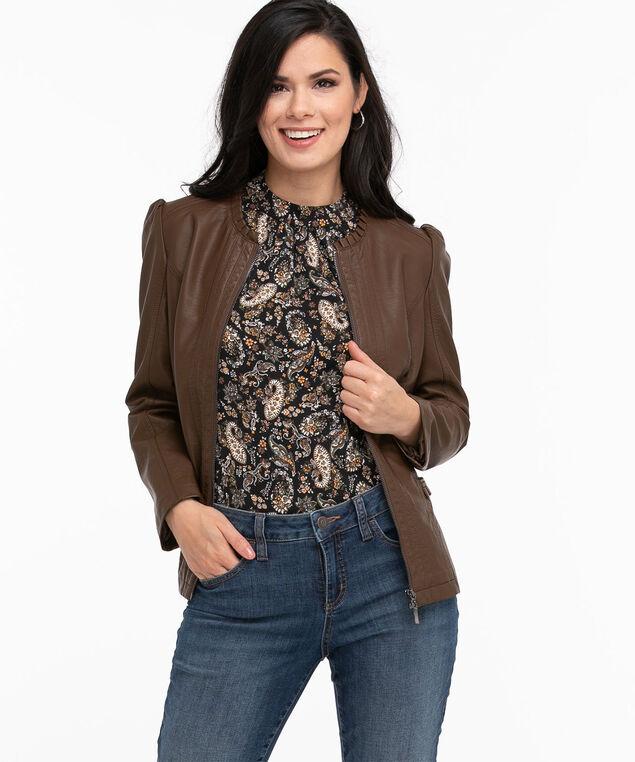 Vegan Leather Ruffle Jacket, Walnut