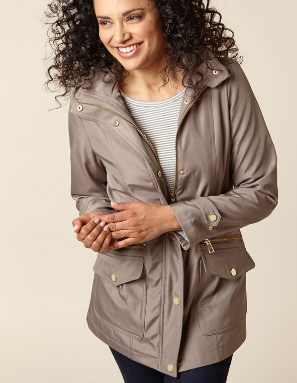 Taupe Anorak Coat, Taupe/Neutral, hi-res