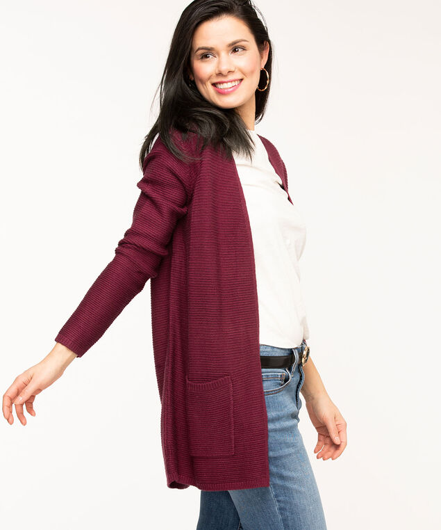 Long Open Ottoman Cardigan, Wine