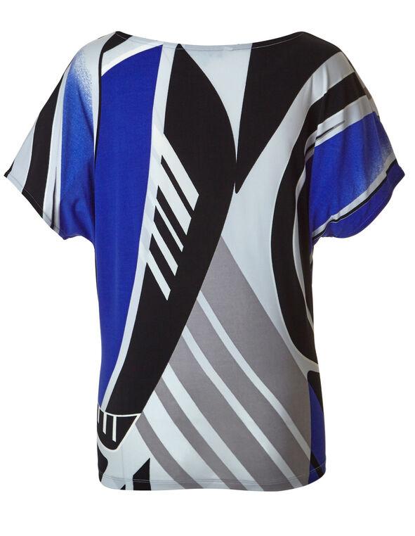 Cobalt Printed Dolman Sleeve Top, Black/Cobalt, hi-res