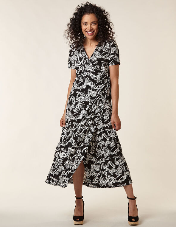 Black Printed Wrap Maxi Dress, Black, hi-res