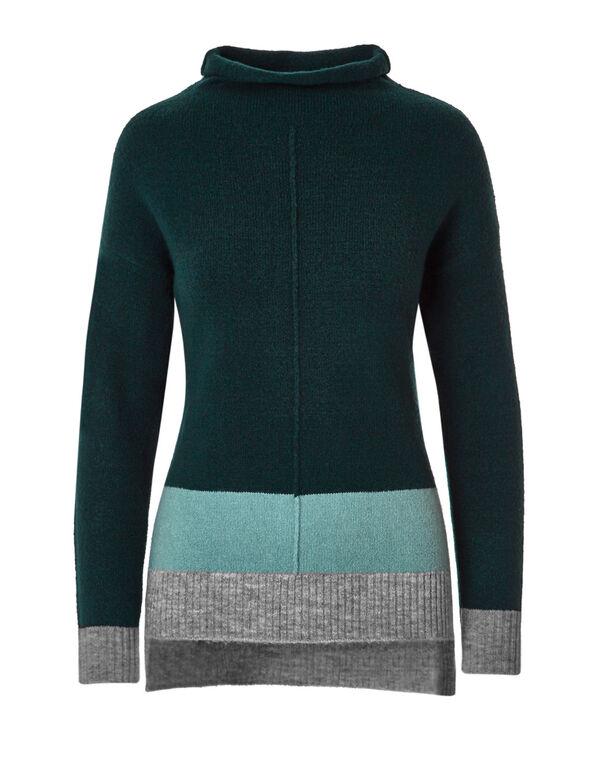Peacock Colour-Block Tunic Sweater, Peacock, hi-res