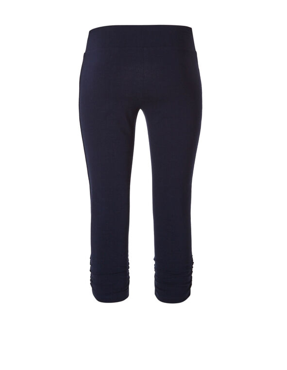 Navy Cotton Ruched Capri, Summer Navy, hi-res