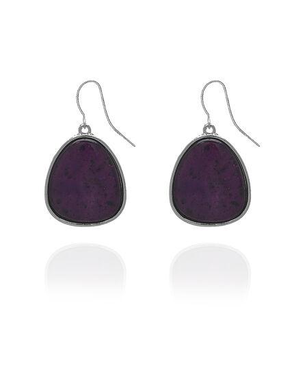 Berry Stone Drop Earring, Purple/Silver, hi-res