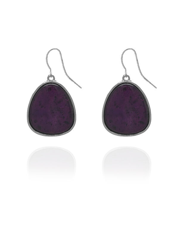 Berry Stone Drop Earring, Purple/Silver, hi-res