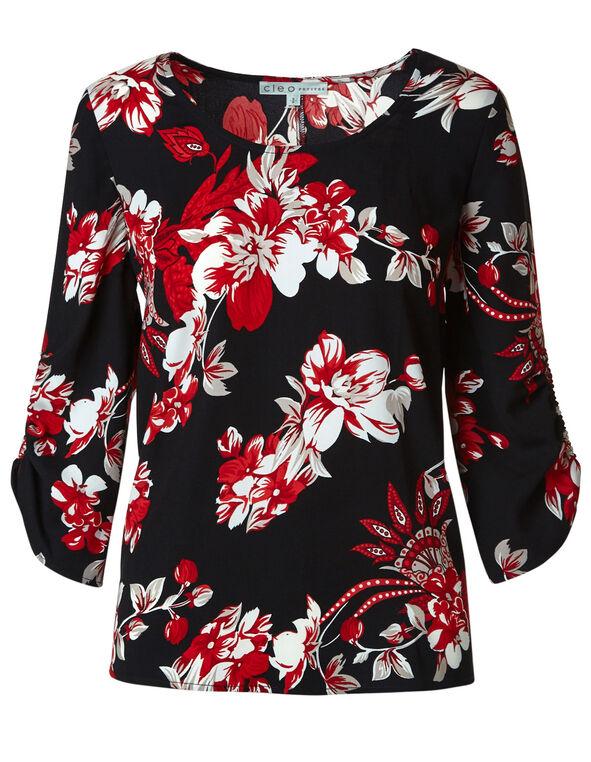 Scarlet Red Floral Blouse, Red/Black, hi-res