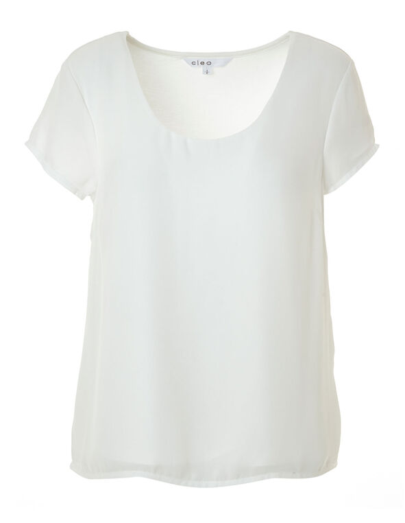 Ivory Woven Top, Ivory, hi-res