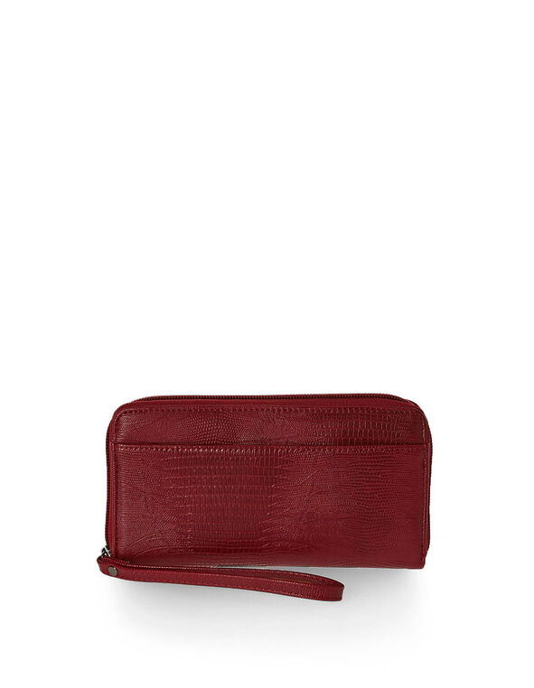 Croco Textured Red Wallet, Red, hi-res