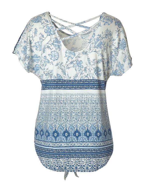 White Printed Crochet Sleeve Top, White/Blue, hi-res