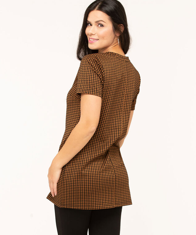 Copper Herringbone Tunic Top, Copper/Black, hi-res