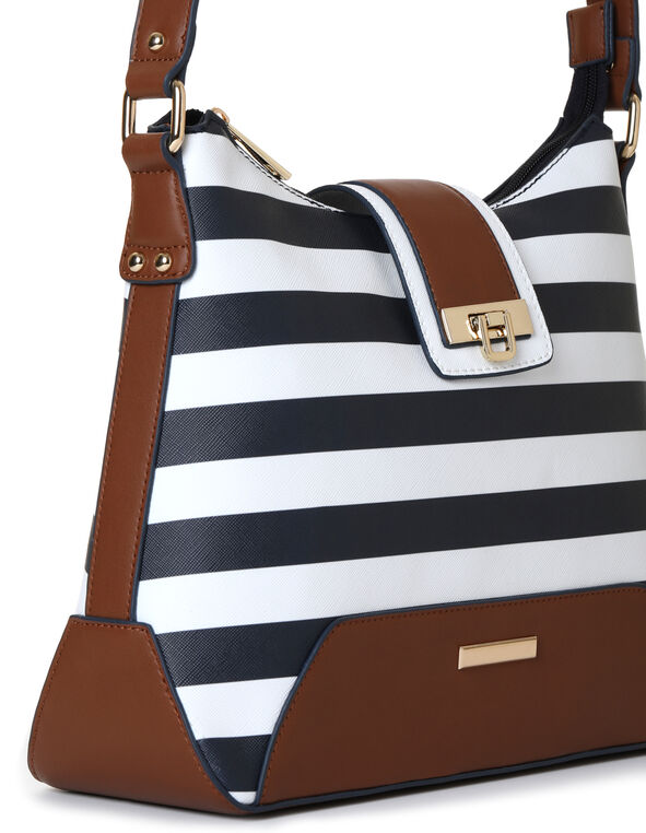 Navy Striped Hobo Handbag, Navy/White, hi-res