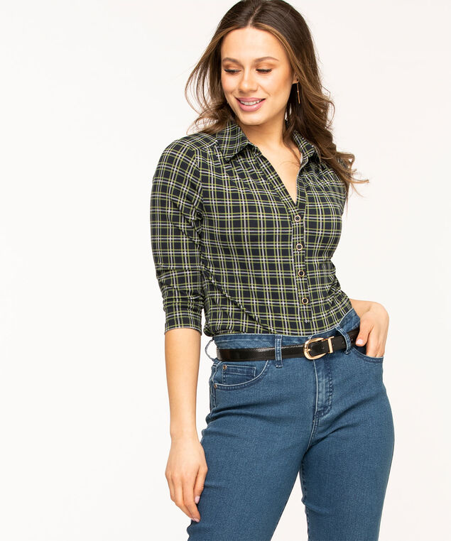 Collared 3/4 Sleeve Popover Top, Navy/Green Plaid