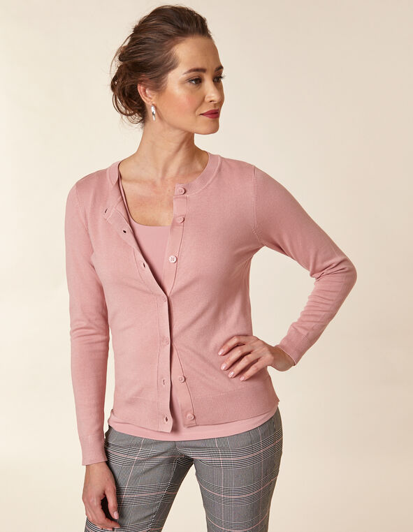 Rose Button Front Cardigan, Pink/Rose, hi-res