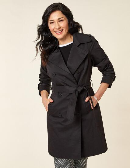 Black Trench Coat, Black, hi-res