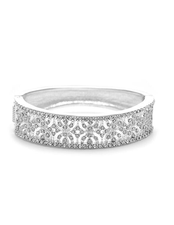 Silver Crystal Hinge Bracelet, Silver, hi-res