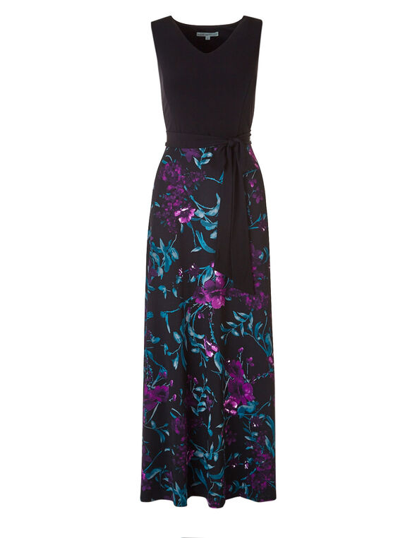 Purple Floral Maxi Dress, Black, hi-res