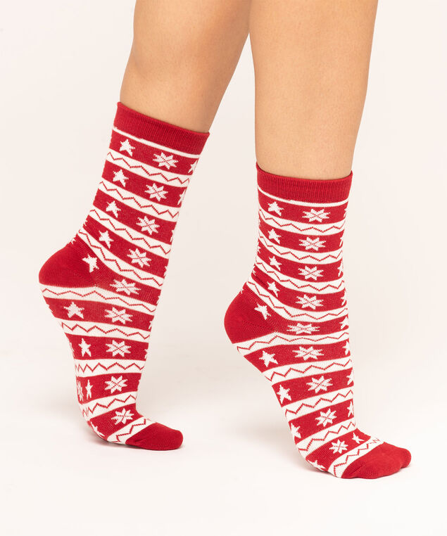 Red Snowflake Sock, Red/White, hi-res