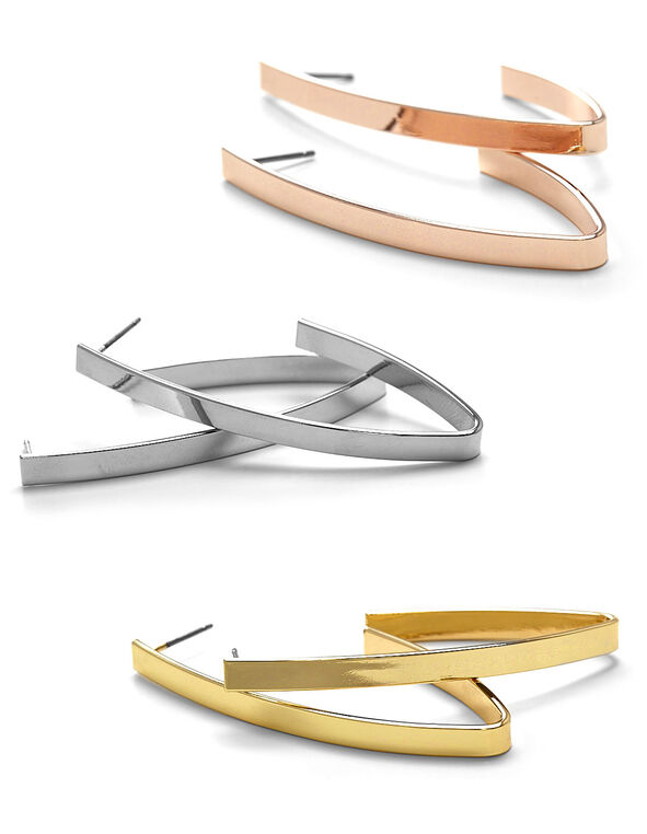 Tri-Metal Modern Loop Earring, Rose Gold/Gold/Silver, hi-res