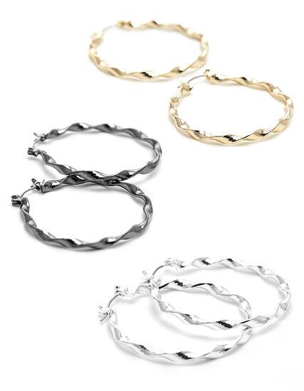 Twisted Hoop Earring Trio, Gold/Silver/Hemi, hi-res