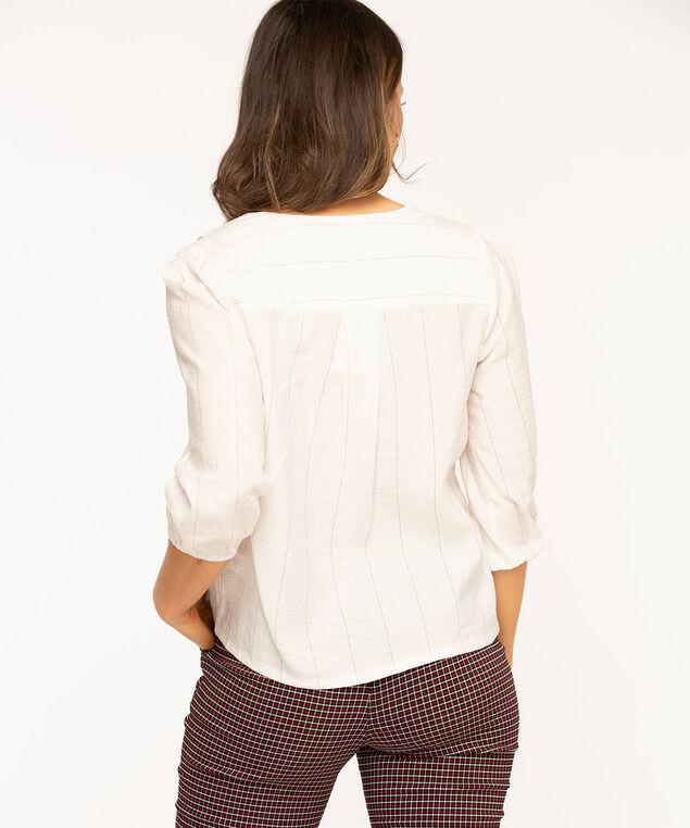 V-Neck Button Front Blouse, White Stripe