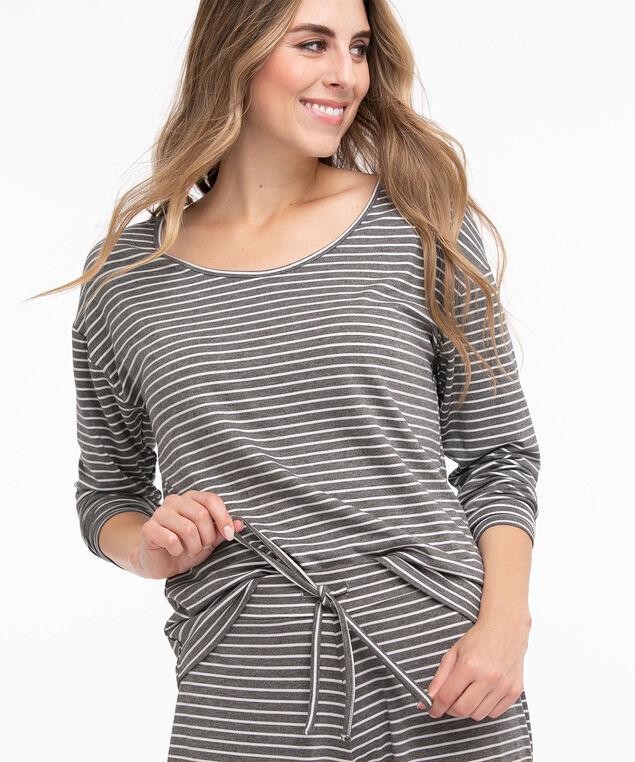 Striped Super Soft Pyjama Set, Grey/White Stripes