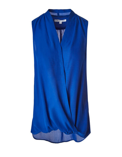 Electric Blue Bubble Hem Blouse, Electric Blue, hi-res