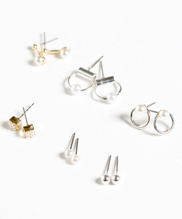 Small Pearl Earring Set, Pearl/Gold/Silver