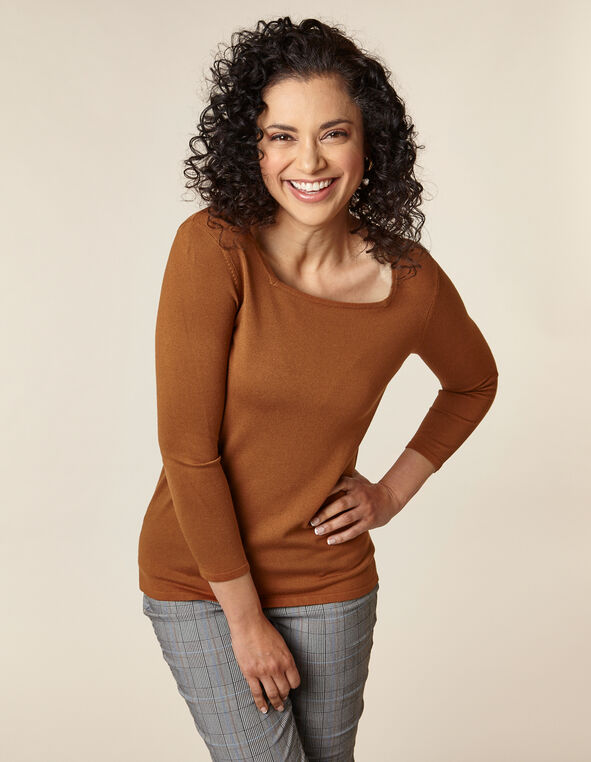 Rust Square Neck Sweater, Rust, hi-res
