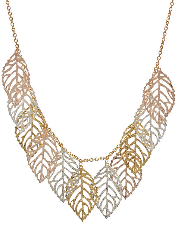 Gold Leaf Short Statement Necklace, Gold, hi-res