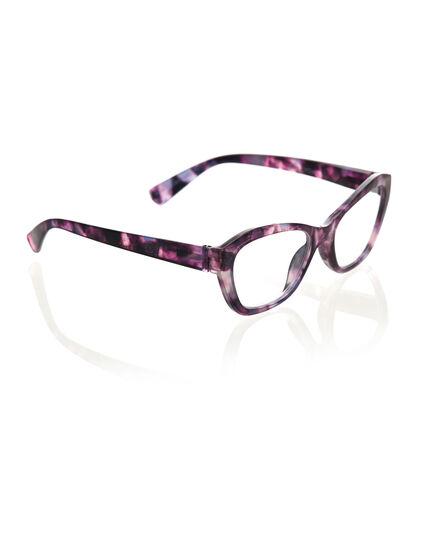 Purple Marble Cat Eye Reader, Purple, hi-res