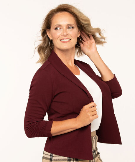 Mulberry Ruched Sleeve Open Blazer, Mulberry, hi-res