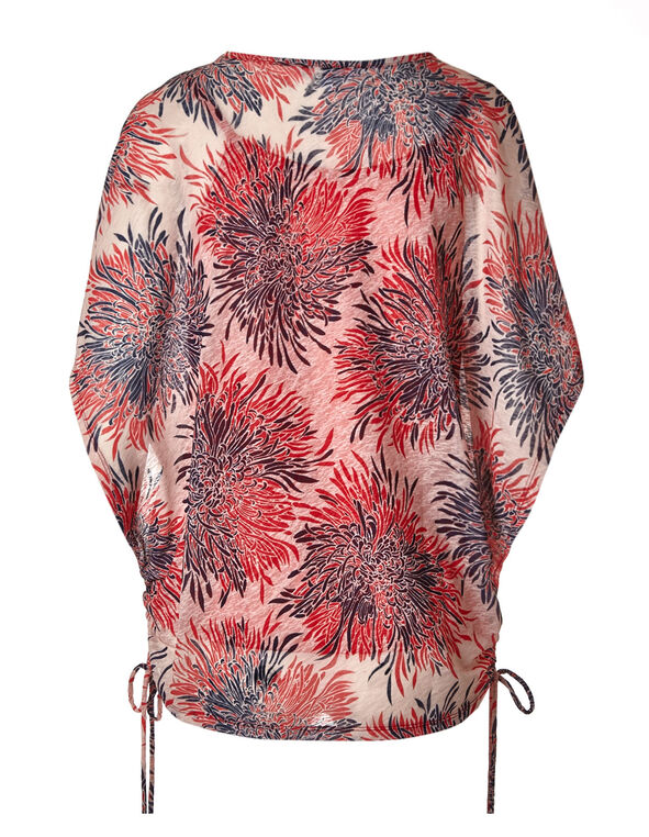 Coral Floral Wide Sleeve Top, Coral, hi-res