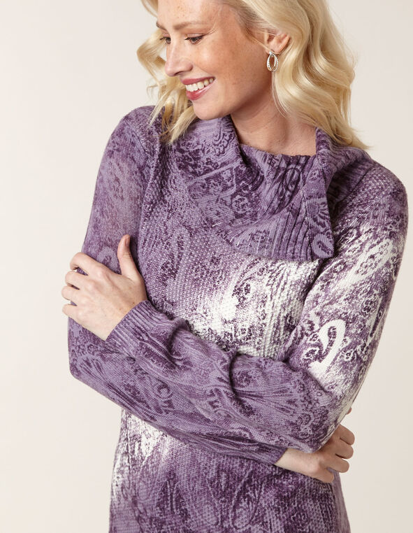 Purple Patterned Tunic Sweater, Purple, hi-res