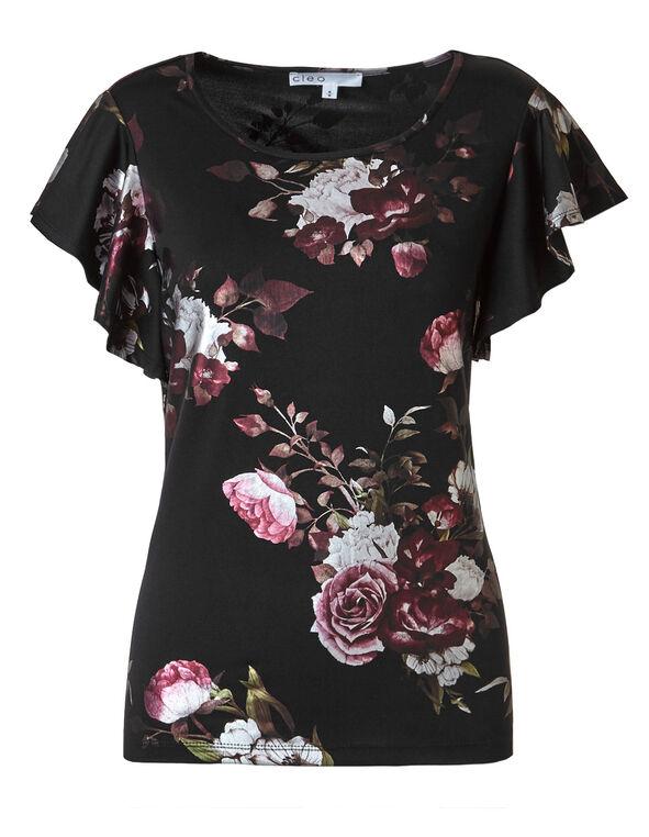 Black Foil Floral Top, Black, hi-res