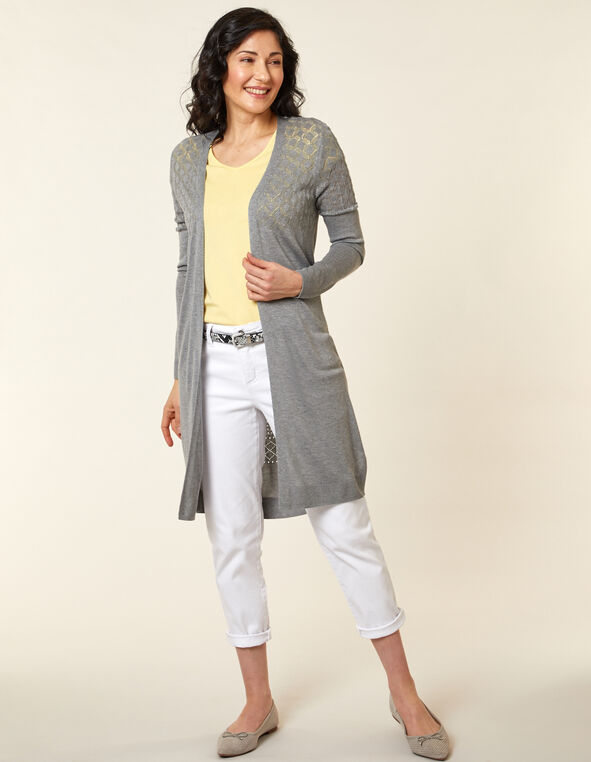 Light Grey Stitch Long Cardigan, Grey, hi-res