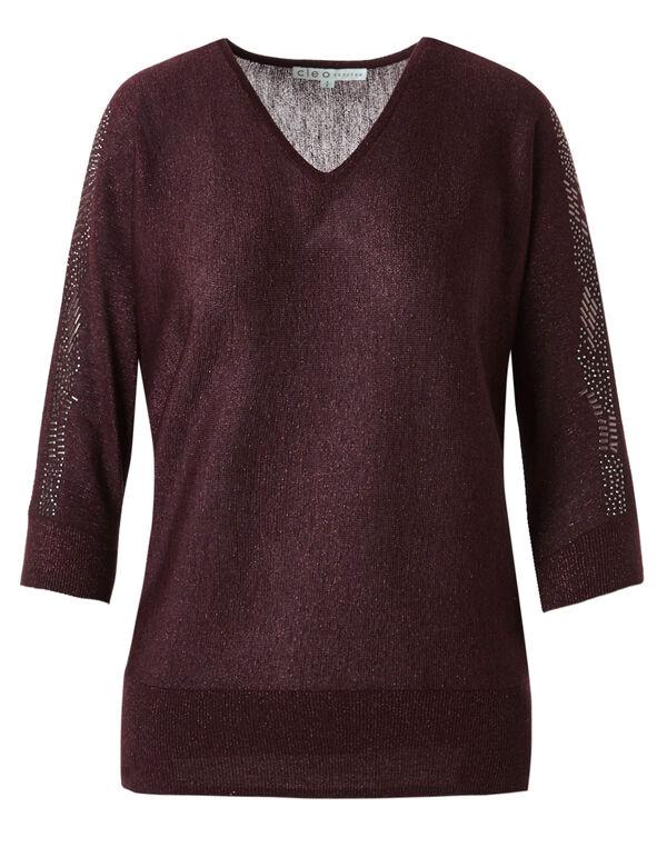 Burgundy Open Shoulder Sweater, Burgundy, hi-res