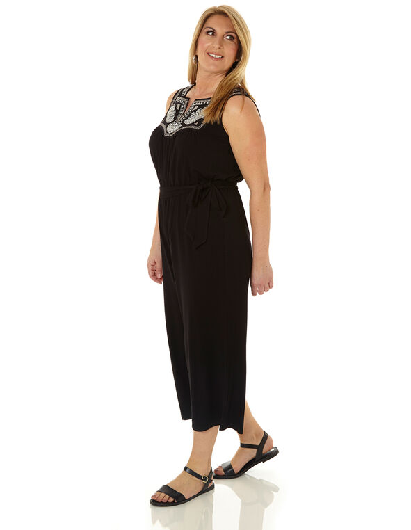 Black Embroidered Jumpsuit, Black, hi-res