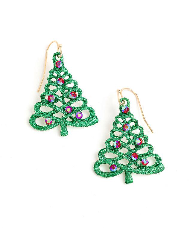 Rhinestone Christmas Tree Earring, Green