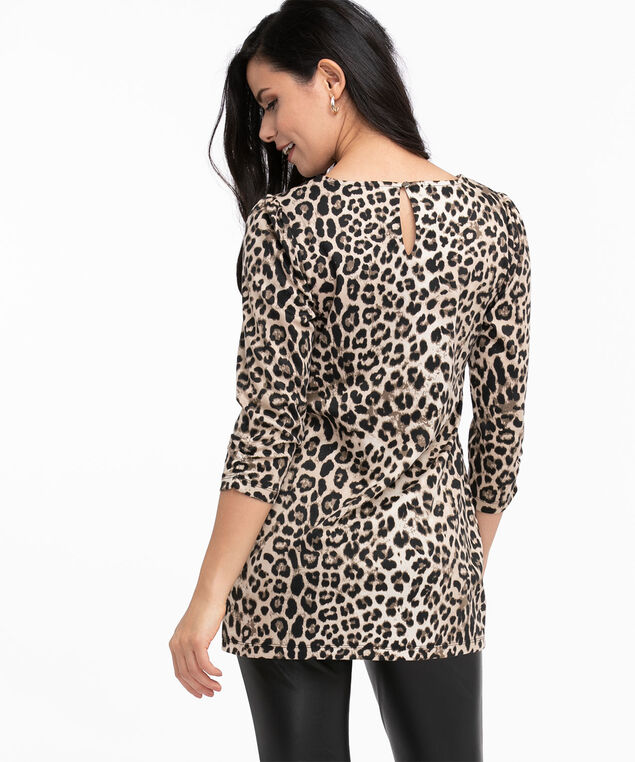 Vegan Leather Pocket Tunic Top, Ivory/Black/Taupe Leopard Print