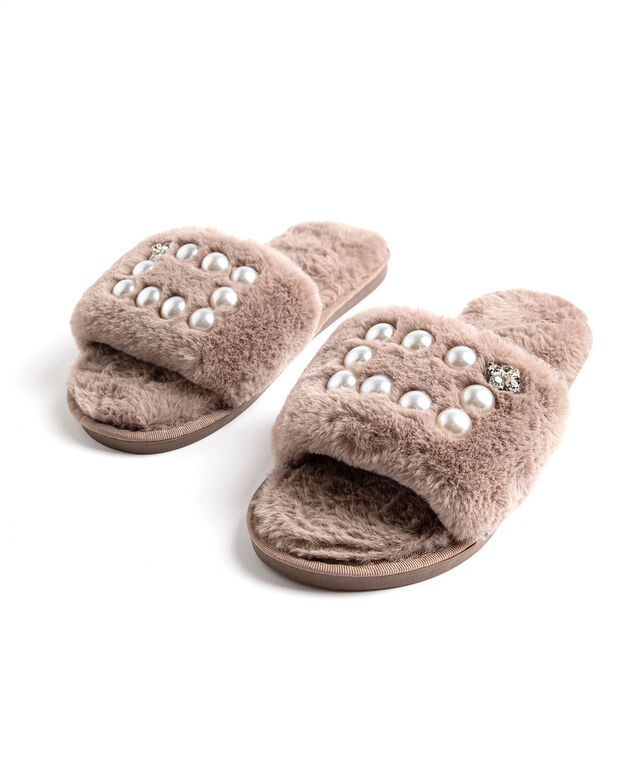 Plush Pearl Slippers, Taupe