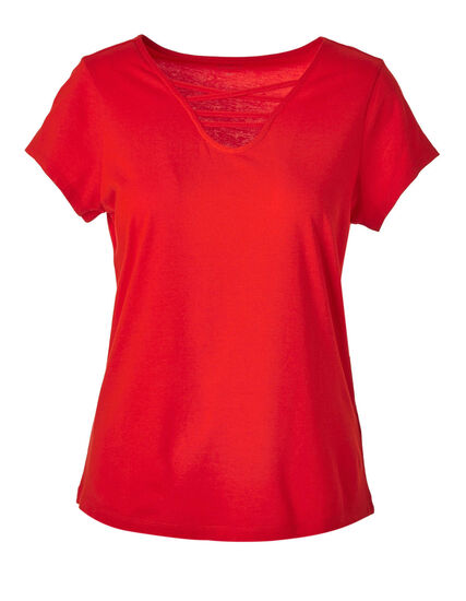Red Criss-Cross Tee, Red, hi-res