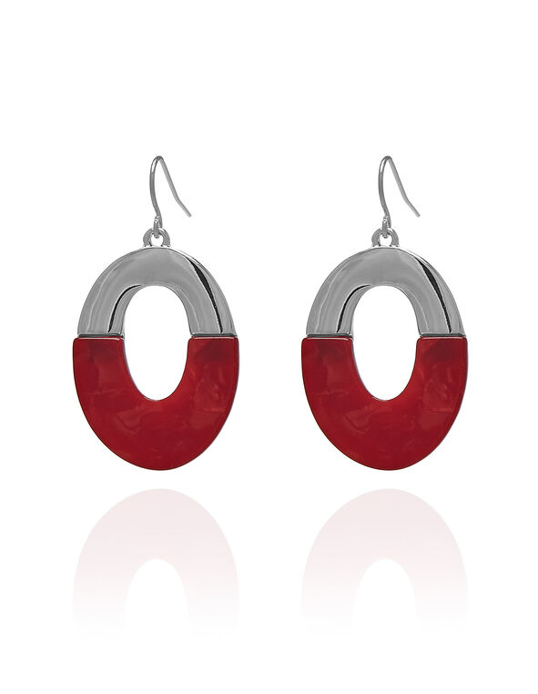 Red Oval Drop Earring, Red/Silver, hi-res