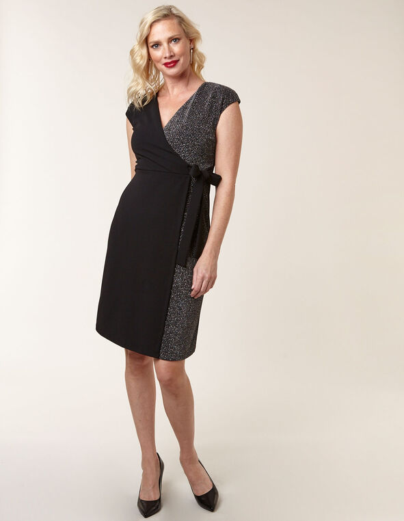 Black Silver Detail Wrap Dress, Black, hi-res