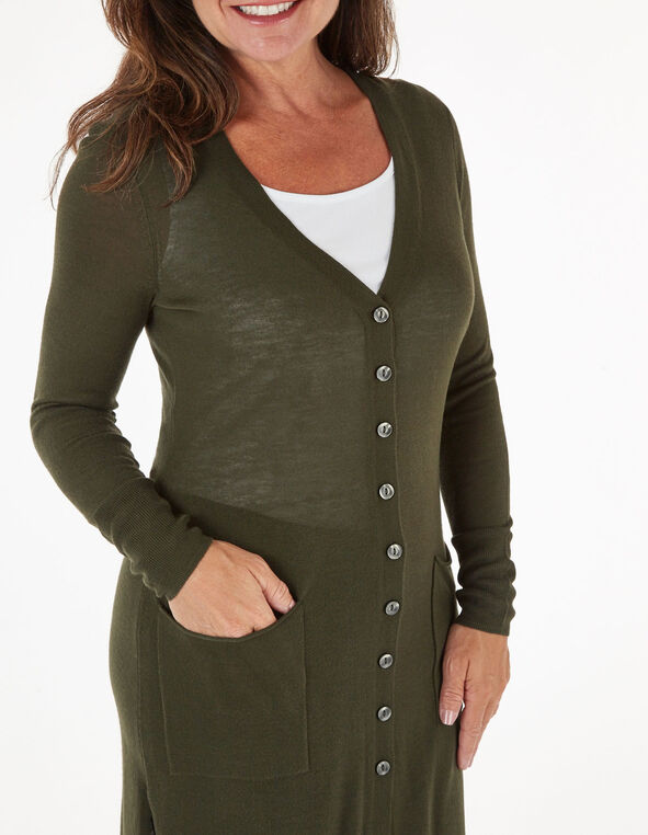 Dark Green Long Button Cardigan, Green, hi-res
