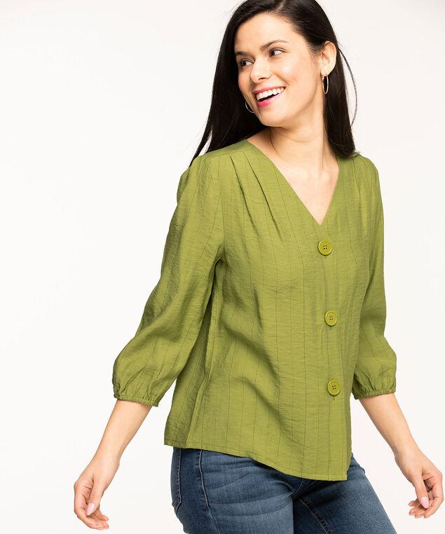 V-Neck Button Front Blouse, Avocado Stripe