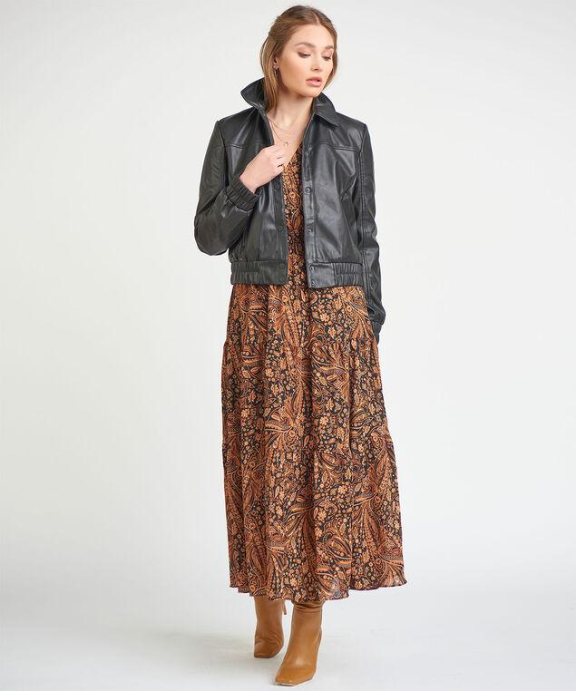 Dex Black Tape Faux Leather Jacket, Black