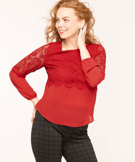 Lace Overlay Popover Blouse, Red, hi-res